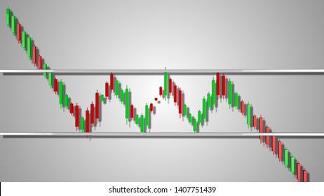 Bearish Rectangle Stock Chart Pattern 3D Illustration