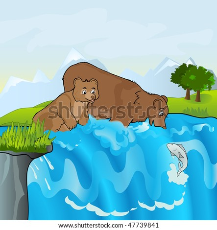 Bears Stream Attempt Catch Fish Young Stock Illustration Royalty