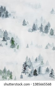 Beatiful drawing of misty pine forest