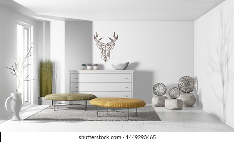 Beatuful Bright Modern Living Room Interior design  3D Illustration