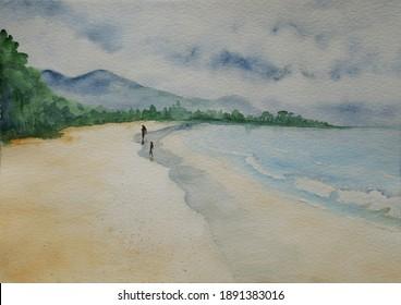 Beau Vallon beach, Mahe island, Seychelles in gloomy day handpainted watercolor illustration