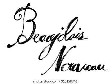 Beaujolais Nouveau wine of handwriting