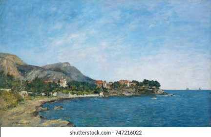 Beaulieu: The Bay of Fourmis, by Eugene Boudin, 1892, French impressionist painting, oil on canvas. This was painted on the French Riviera in March 1892, with a light and bright palette of impressioni