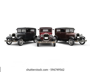 Beautiful 1920s vintage cars - black, red and brown - 3D Illustration