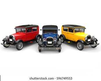 Beautiful 1920s vintage cars in primary colors - 3D Illustration