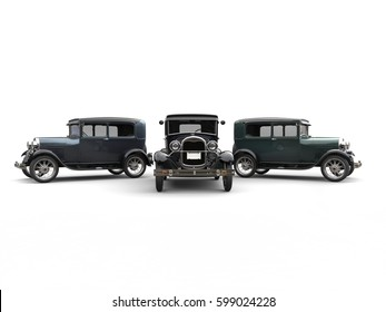 Beautiful 1920s vintage cars - studio shot - 3D Illustration
