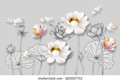 Beautiful 3d illustration of lotus flowers for wallpaper. Abstract art wallpaper