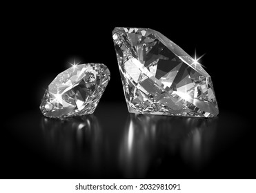 Beautiful 3D Rendered Shiny Diamond in Brilliant Cut on Black Background , Crystal Background