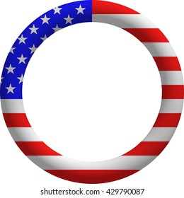 Beautiful 3D rendered US flag border ring concept isolated on white.