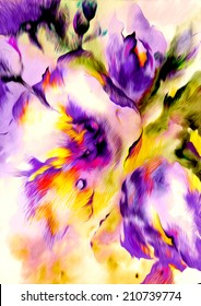 Beautiful abstract bright colorful bouquet of purple and yellow flower