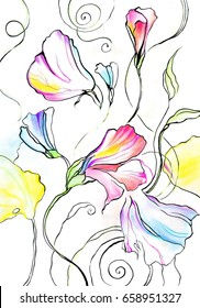 Beautiful  abstract bright colorful pattern - bouquet of yellow,  blue and violet flowers. Watercolor pastel and graphic on paper.