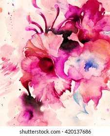 Beautiful abstract decorative flowers in pink. Watercolor.