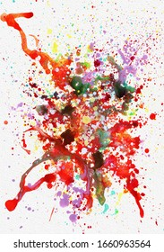 Beautiful abstract hand painted splashes of paints, rainbow colors