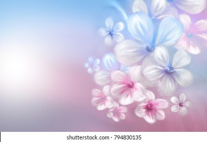 Beautiful abstract hand-drawn watercolor flowers close-up on a gentle pink and light blue background. Refined delicate elegant artistic image of nature in spring with free space for text.