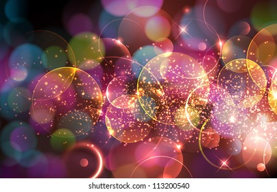 Beautiful abstract illustration with lots of sparkling and defocused lights