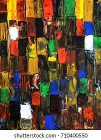 Beautiful Abstract Large Scale Painting On Wood