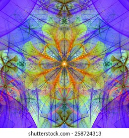 Beautiful abstract space flower with decorative flowers and arches surrounding it, all in pastel purple, blue,yellow,orange,green colors