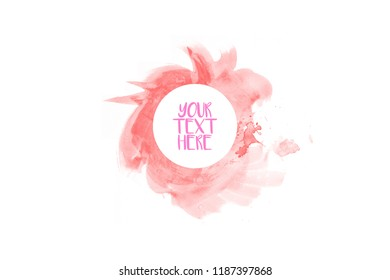 beautiful abstract  watercolor hand paint on white background,brush textures for logo.There is a place for text.Perfect stroke design for headline.luxury boutique