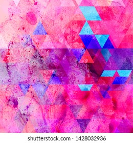Beautiful abstract watercolor retro background from different polygons and shades of color. Example for web page, poster or business card.