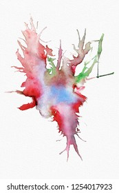 Beautiful abstract watercolor splash with paper texture on white