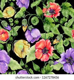 Beautiful abutilon flowers on climbing twigs on black background. Seamless floral pattern. Watercolor painting. Hand painted illustration. Fabric, wallpaper, wrapping paper design.