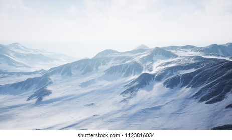 Beautiful Aerial Flight Over Snowy Mountain. 3D rendering.