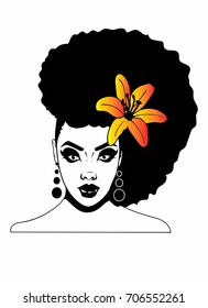 Beautiful African American Woman with Afro hairstyle and flower in hair /Afro Woman / Afro Caribbean beauty paradise