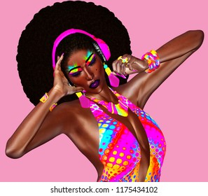 Beautiful African woman in a colorful ribbons outfit, wearing headphones and a trendy, curly Afro hairstyle. Our unique 3d rendered digital model, art fashion designs  get attention for your project.