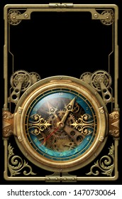 Beautiful aged metal frame with steampunk clock and ornaments 3D illustration