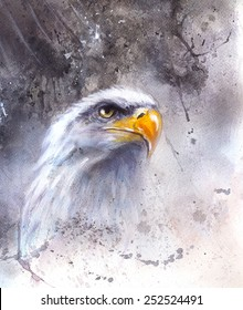 beautiful airbrush painting of  eagle on an abstract background, one stretching his black wings to fly, on abstract background