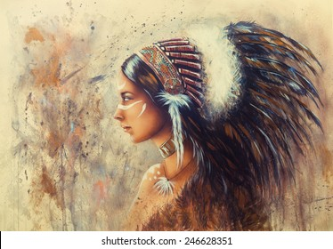 beautiful airbrush painting of a young indian woman wearing a big feather headdress, a profile portrait on structured abstract background profile portrait make up artist