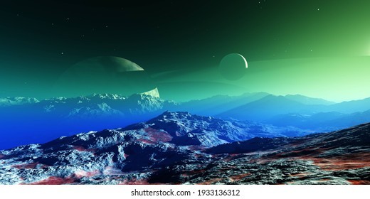 Beautiful alien landscape at the sunrise of the planet, sunset on another planet, alien landscape at the sunrise, 3d rendering