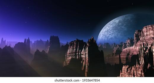 Hermoso paisaje extraterrestre al amanecer del planeta, puesta de sol en otro planeta, paisaje extraterrestre al amanecer, 3d renderización