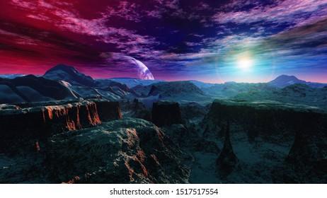 Beautiful alien landscape at sunset. Satellite over an alien surface. . 3d rendering.