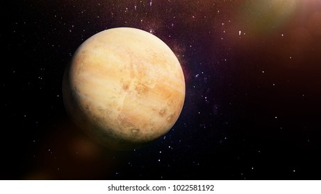 beautiful alien planet with cloudy atmosphere lit by a star, habitable exoplanet (3d space illustration, elements of this image are furnished by NASA)