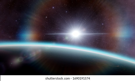 beautiful alien planet in far space, realistic exoplanet, planet similar to Earth, detailed planet surface 3d render