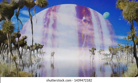 beautiful alien planet landscape, exoplanet with strange plants and flying creatures (3d science illustration)