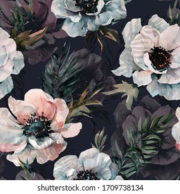 Beautiful anemone flower with green leaves on black background. Seamless floral pattern. Watercolor painting. Hand drawn and painted illustration. Fabric, wallpaper, bed linen design.