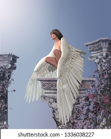A beautiful angel girl with feathered wings resting on an antique heavenly pillar, 3d render