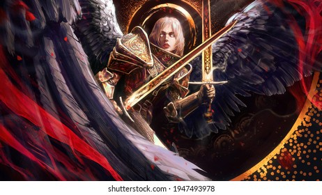 beautiful angel girl with a square hairstyle glowing white eyes in gold patterned armor with two magical paired swords and huge black wings 2d illustration.