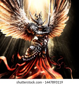 Beautiful angel knight with sword and in armor hovers illuminated by divine light