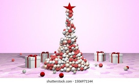 Beautiful animated christmas tree. 3D rendering, animation