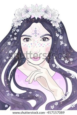 Beautiful Anime Girl Flowers Stars Long Stock Illustration Royalty