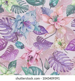 Beautiful aquilegia or columbine flowers and exotic monstera leaves on pink background. Watercolor painting. Tropical seamless floral pattern. Hand drawn illustration. Pastel shades.