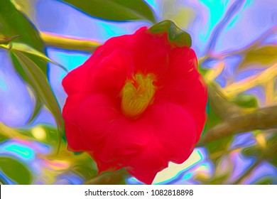 A beautiful artistic view of a blooming Camellia, flowering shrub. Image captured on Hilton Head Island in late March.Artistic filtering added in post-processing
