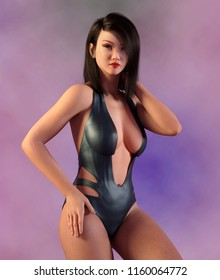 Beautiful Asian woman in swimsuit Computer generated 3D illustration