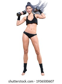 Beautiful athlete woman with dumbbells.Girl in sports bikini.Strong woman doing weights.Sports lifestyle.Woman studio photography.Conceptual fashion art.Femme fatale.3D Render.