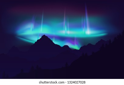 Beautiful Aurora Borealis northern lights in night sky over mountain.  illustration.