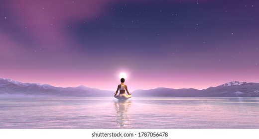 Beautiful aurora universe with milky way, and meditating woman in yoga pose_3d rendering image