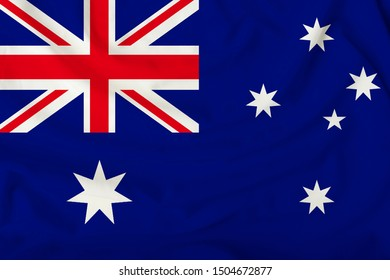 beautiful australia flag on delicate silk with soft folds in the wind